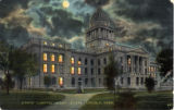 State Capitol, night scene, Lincoln, Nebr.