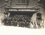 Group posing in front of Hotel Fontenelle